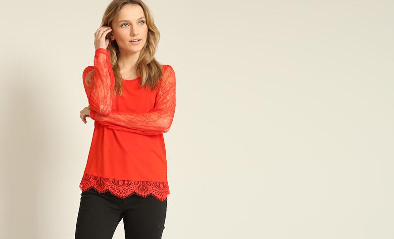 T-shirt van kant Rood