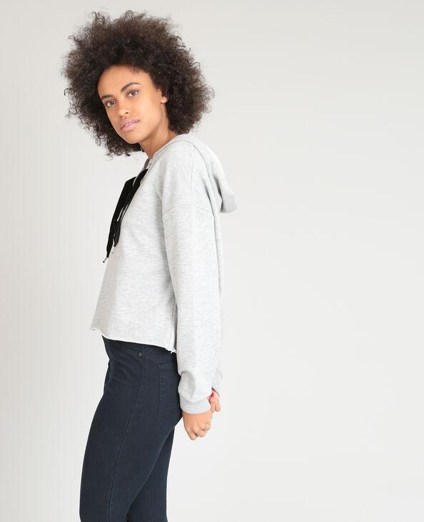 Sweater met veters gemêleerd grijs