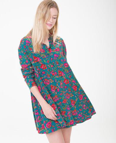 Robe chemise imprimée vert