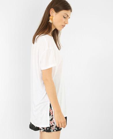 Oversized T-shirt met korte mouwen gebroken wit