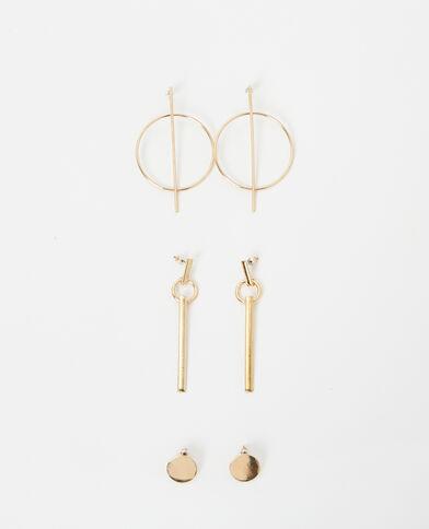 Set van 3 paar goudkleurige oorbellen goudkleurig