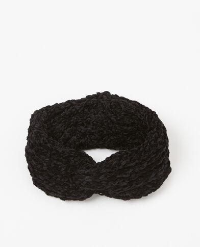Headband maille chenille noir