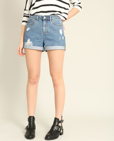 Mom jeansshort denimblauw
