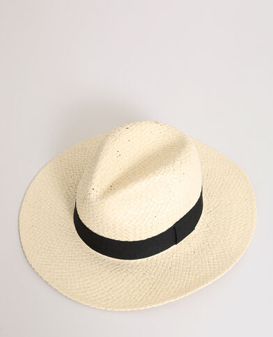 Fedora paille beige ficelle