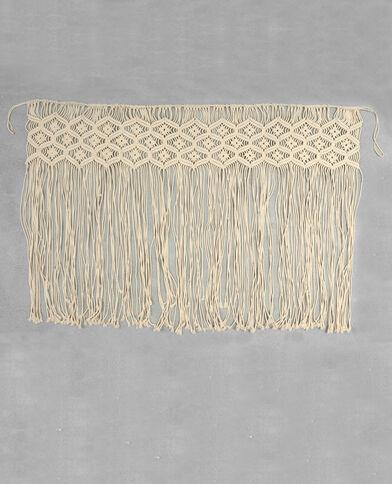 Bedeinde van geknoopt tapijt gebroken wit