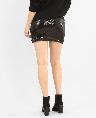 Gefronste rok met pailletten zwart