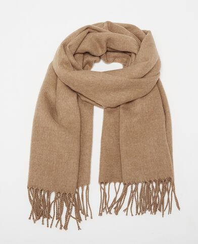 Sjaal met franjes kastanjebruin