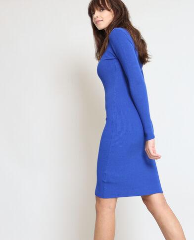 Strakke trui-jurk elektrisch blauw