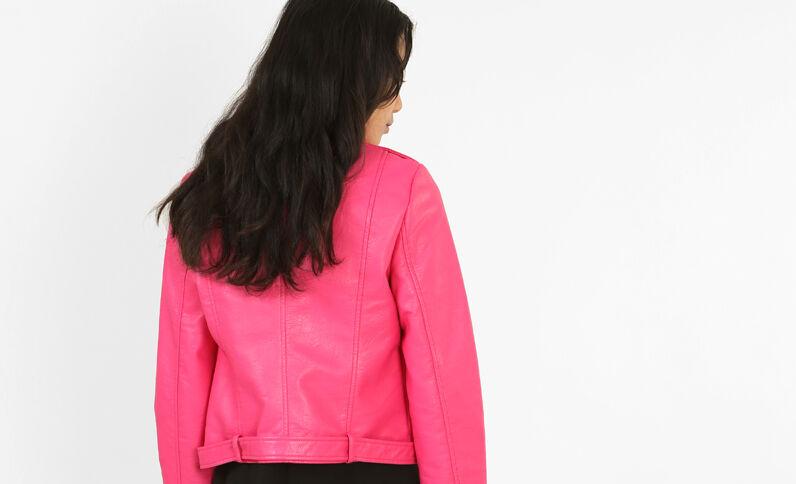 Bikerjasje van kunstleer roze