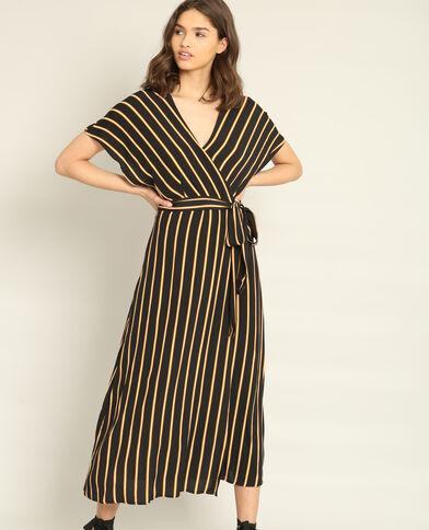 Lange jurk met omslag zwart