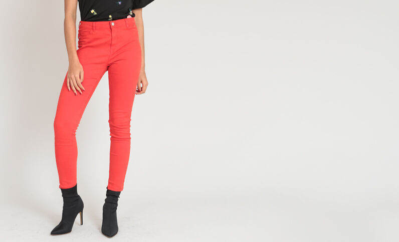 Jegging taille haute rouge