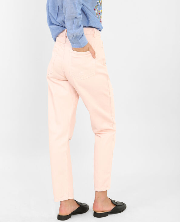 Destroyed mom jeans roze