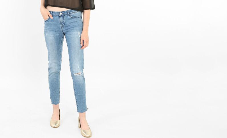 Skinny destroyed jeans blauw