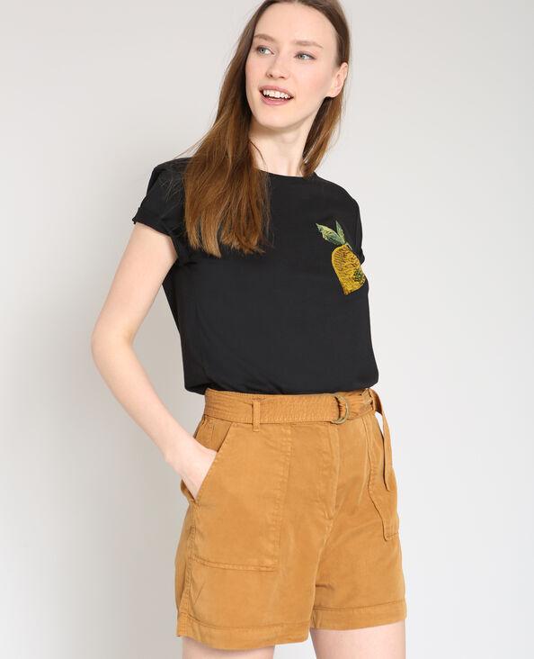 T-shirt met citroenprint zwart