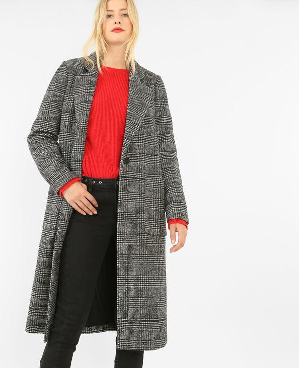 Mantel met ruitjespatroon zwart