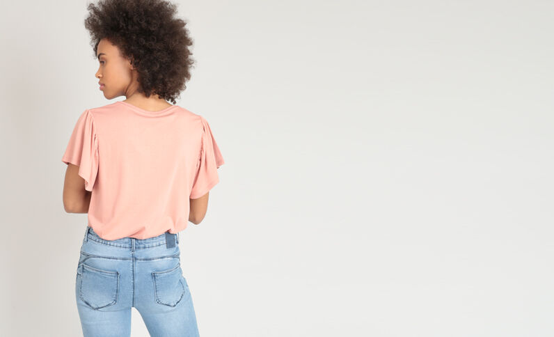 T-shirt met borduursels roze