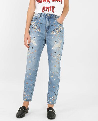 Mom jeans met borduursels blauw