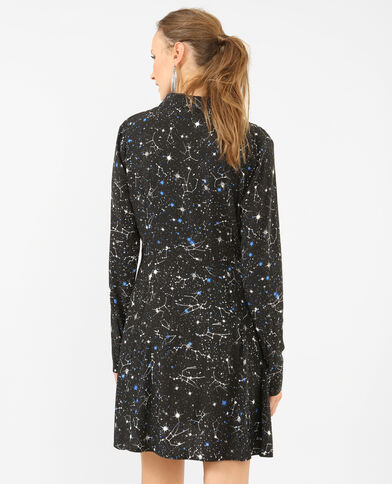 Robe chemise imprimée noir