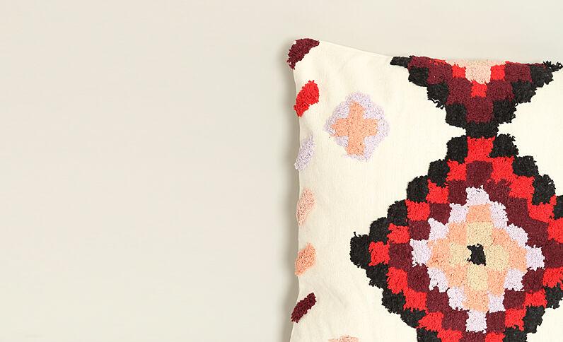 Coussin XL multicolore rouille