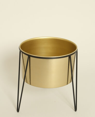 Grand vase sur pieds doré