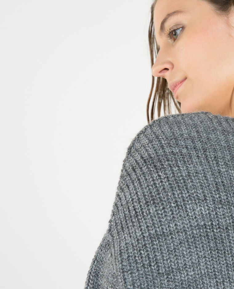 Pull ample col V gris