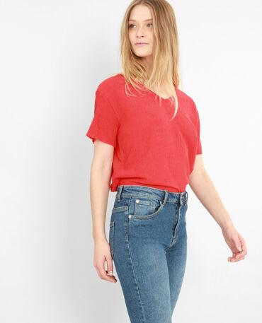 T-shirt met structuur Rood