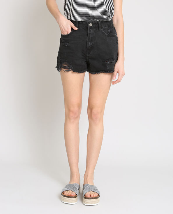 Jeansshort met destroyed look zwart