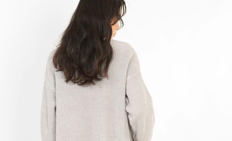 Lange blazer met zakken gemêleerd grijs
