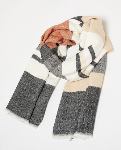 Warme sjaal met veel strepen camel