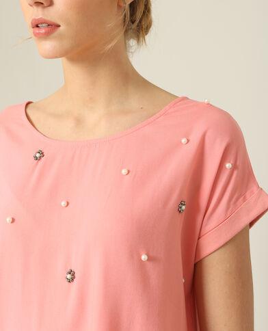 T-shirt à perles rose