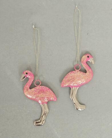 Set van twee decoratieve flamingo's roze