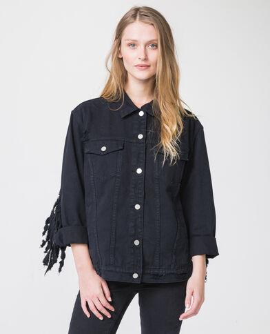 Jeansjasje met franjes zwart