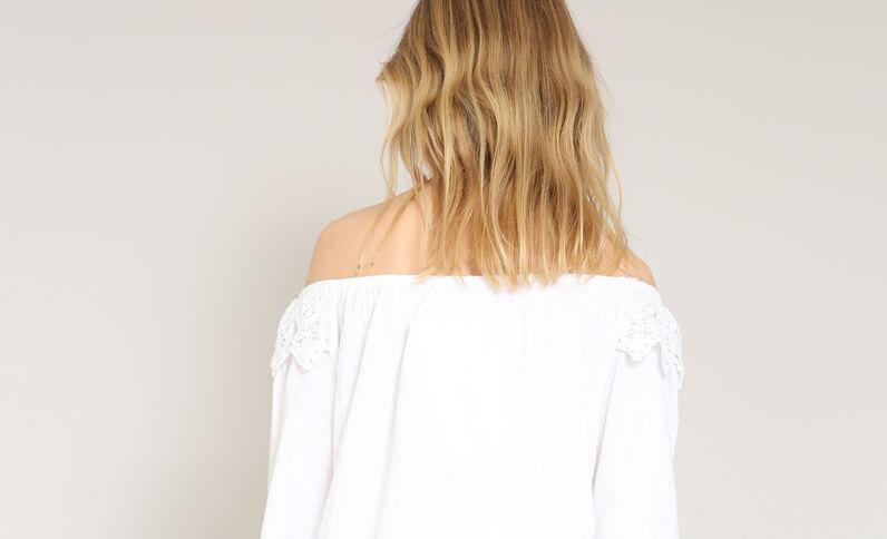Shirt met bardothals wit