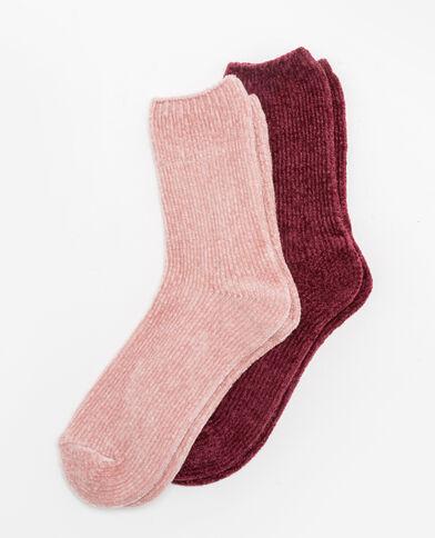 Lot de 2 paires de chaussettes chenille rose