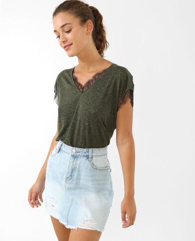 Kanten T-shirt kaki