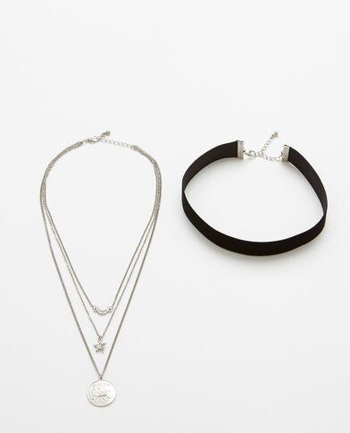 Set van 2 halskettingen zilvergrijs