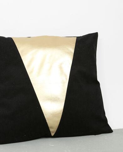 Housse de coussin bicolore noir