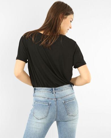 Oversized T-shirt met zakje met jeansknoop zwart
