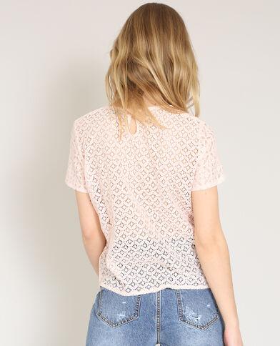 T-shirt van kant roze