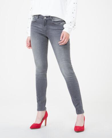 Skinny mid waist gris délavé