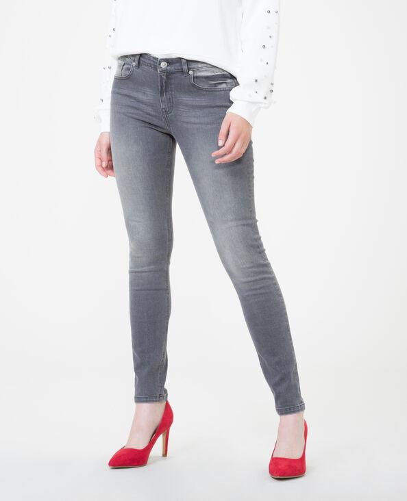 Skinny jeans met middelhoge taille verwassen grijs