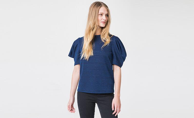 T-shirt met ballonmouwen blauw