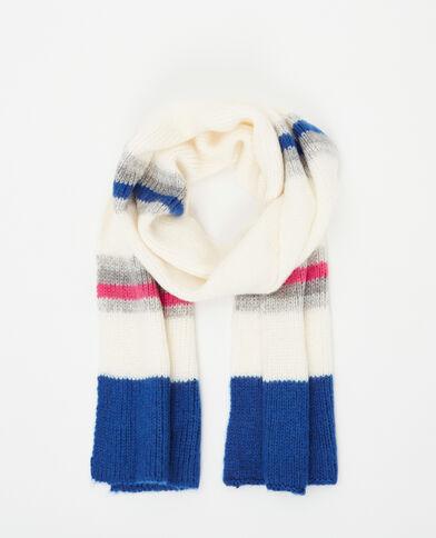 Sjaal met brede strepen gebroken wit