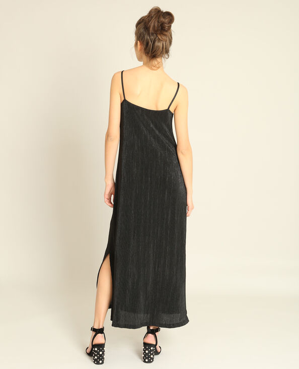 Robe longue texturée noir