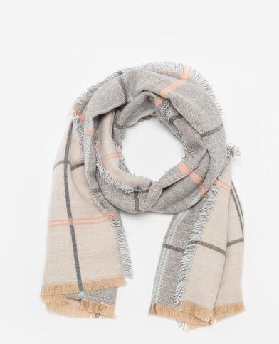 Tweezijdige sjaal met ruitjes Beige