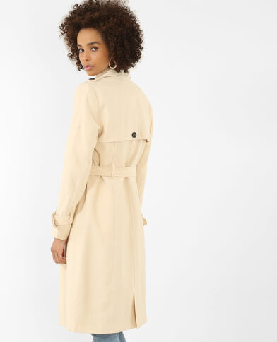 Lange trenchcoat geweven beige