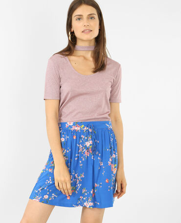 T-shirt lurex col choker rose