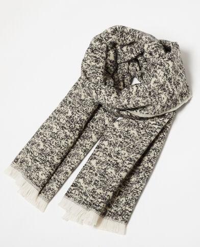 Warme sjaal met franjes zwart
