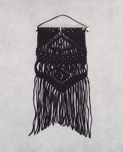 Hanger van macramé zwart