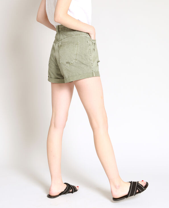 Jeansshort met destroyed look groen